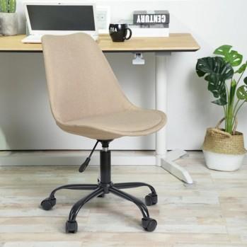 Chaise de bureau en tissu couleur crème