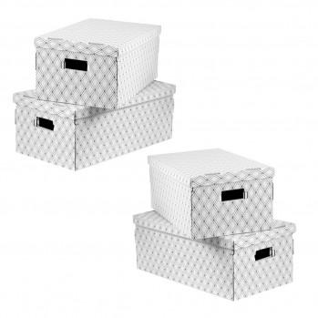 Boîtes en carton pliables imprimées losanges -  Lot de 4