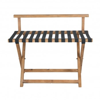 Porte bagage en bois de pin et lanières de cuir