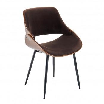 Chaise en velours marron Mannix - lot de 4