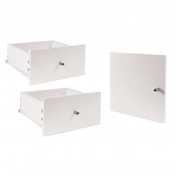 Lot de 2 tiroirs + 1 porte pour meuble à case