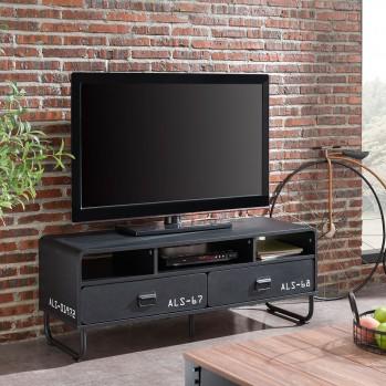 Meuble TV 2 tiroirs Couleur noir mat