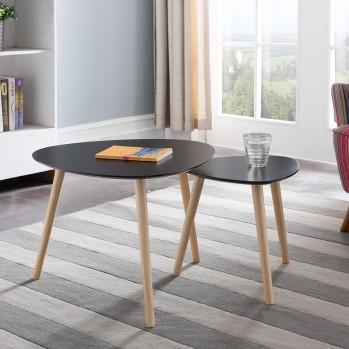 Tables gigognes laquées noir mat - Lot de 2