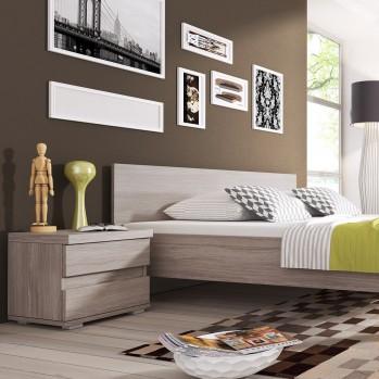 Table de chevet chêne clair coloris gris