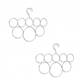 Cintre porte-écharpes 8 anneaux - Lot de 2