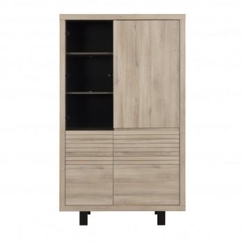 Buffet vaisselier haut 4 portes chêne - fabrication française