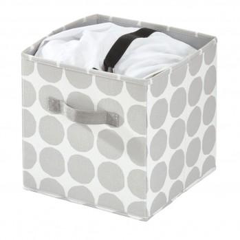 Cube de rangement avec motif en polyester gris 36 x 33 cm dot