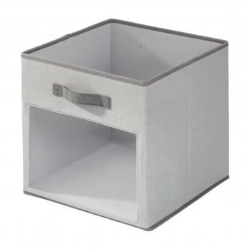 Cube de rangement polyester gris fenetre 31x26cm emmy