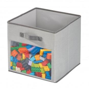 Cube de rangement polyester gris fenetre 33x33cm emmy