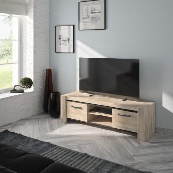 Meuble Tv Couleur chêne 2 portes - Fabrication Française