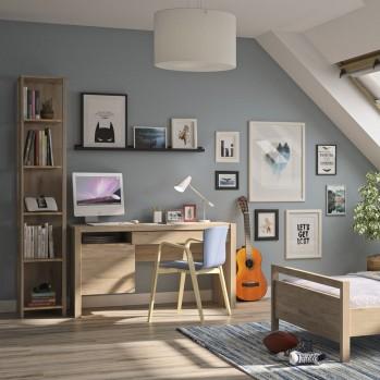Bibliothèque 5 niveaux de rangement couleur chêne - Fabrication Française