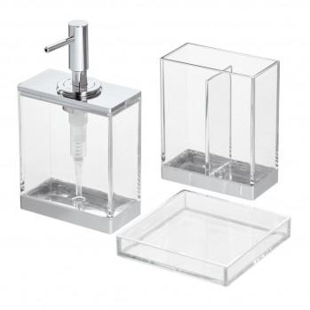 Set de 3 accessoires de lavabo à poser transparent clarity
