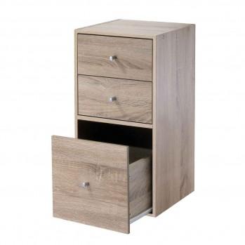 Meuble 2 cases avec 2 tiroirs et un grand tiroir décor bois