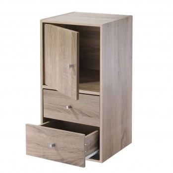 Meuble 2 cases avec une porte et 2 tiroirs décor bois