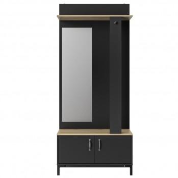 Meuble d'entrée noir 2 portes et un miroir GAMI - fabrication française