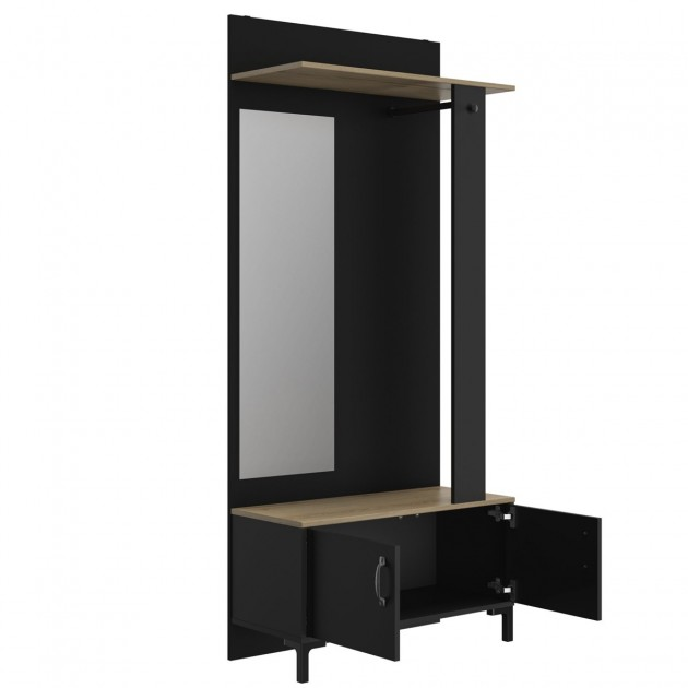 Meuble d'entrée noir 2 portes et un miroir - Fabrication Française