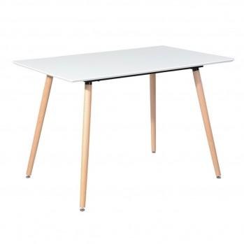 Table à manger rectangulaire blanche avec pieds antidérapants