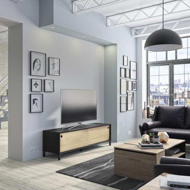 Meuble TV 2 portes coulissantes Arizona - Fabrication Française