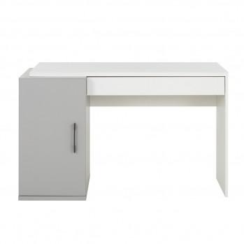 Bureau Ugo gris avec caisson de rangement et tiroir - Fabrication Française