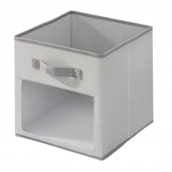 Cube de rangement polyester gris fenetre 26.7x26.7cm emmy