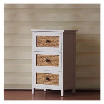 Commode en bois avec 3 tiroirs en osier
