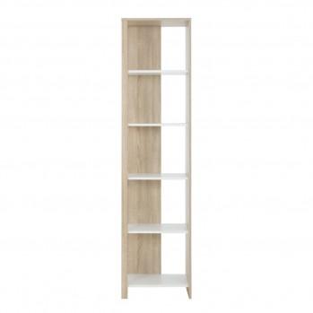 Bibliothèque 5 niveaux couleur chêne et blanc style naturel - fabrication française