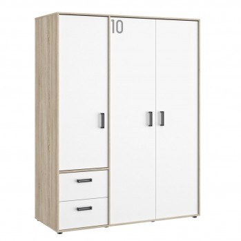 Armoire 3 portes et 2 tiroirs Chêne - fabrication française