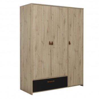 Armoire 3 portes 1 tiroir style industriel couleur chêne artisan - Fabrication Française