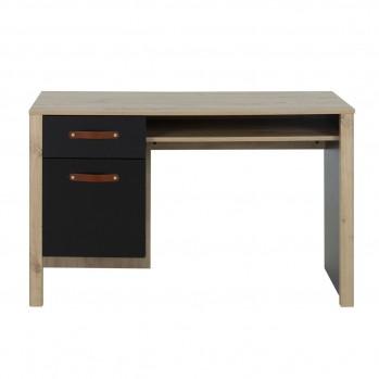 Bureau un tiroir une porte poignées en cuir couleur chêne - Fabrication Française