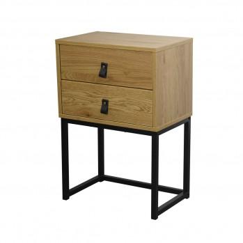 Chevet 2 tiroirs en bois veiné