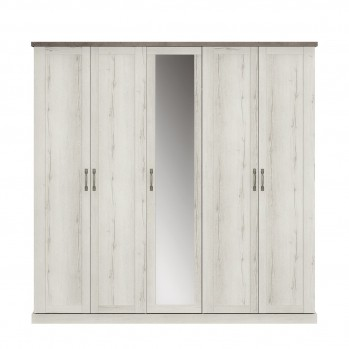 Armoire 5 portes Chamonix couleur Chêne blanchi - Fabrication Française