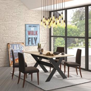 Table à manger rectangulaire 6 pers plateau décor bois - Fabrication Française