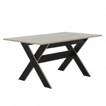 Table à manger rectangulaire 8 pers plateau décor bois - Fabrication Française