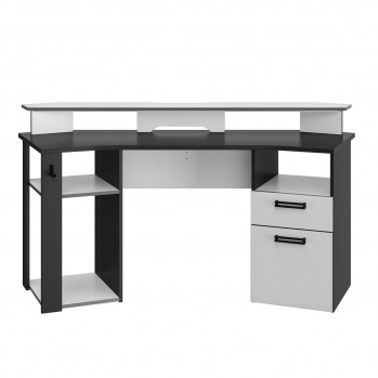 Bureau Gaming gris anthracite et blanc - Fabrication Française