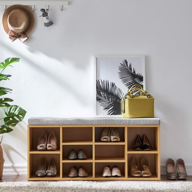 Banc à chaussures avec cases assise couleur grise et structure marron