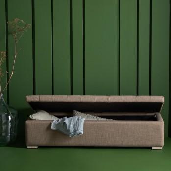 Banc coffre en bois avec revêtement tissu Taupe Vatican