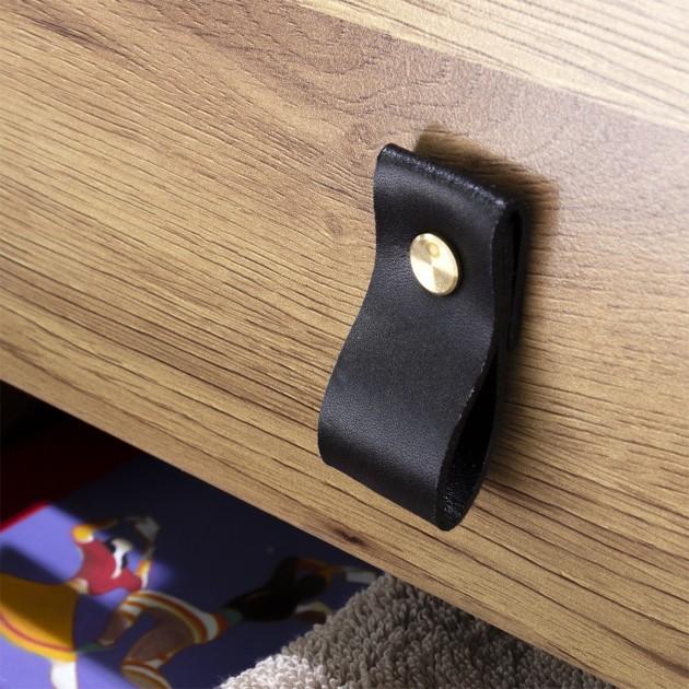 Chevet 2 tiroirs pieds métal effet chêne