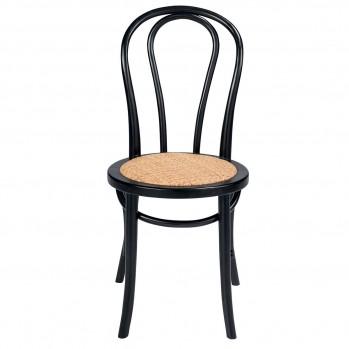Chaise en bois de hêtre et rotin noire Troquet