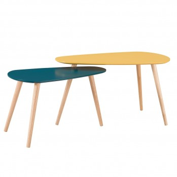 Table basse style scandinave 2 couleurs - lot de 2