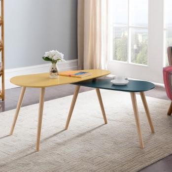 Table basse style scandinave 2 couleurs - lot de 2