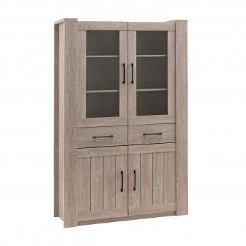 Buffet Haut 2 tiroirs 4 portes chêne doux