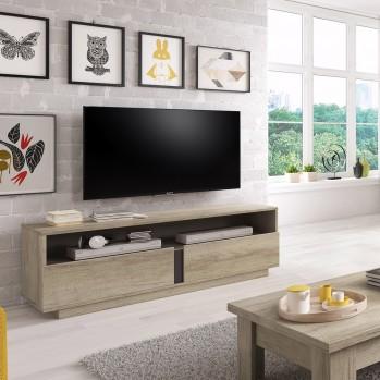 Meuble TV 2 tiroirs avec grande niche country grey
