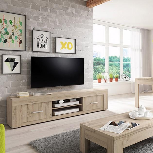 Meuble TV 2 portes 2 niches Chêne clair grisé Axel