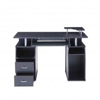 Bureau School noir 2 tiroirs avec tablettes