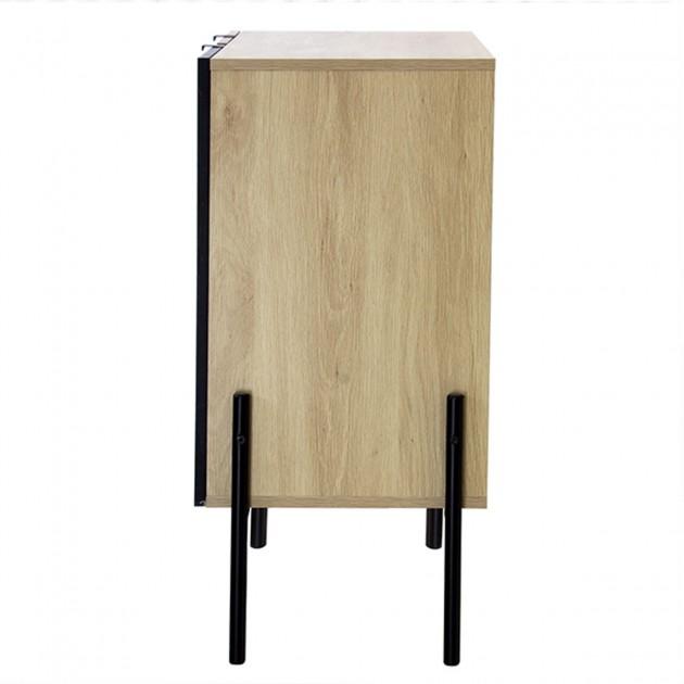 Commode 3 tiroirs décor chêne + 1 porte noire - 79cm
