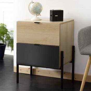 Chevet industriel 2 tiroir décor chêne et noir