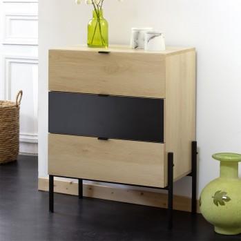 Commode 3 tiroirs décor chêne et noir
