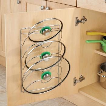 Porte couvercles de casserole à fixer au mur chrome classico