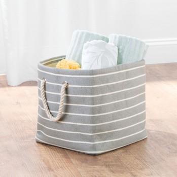 Cube de rangement 29x29cm en papier tressé gris rayures luca