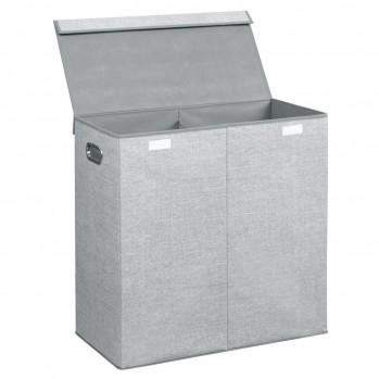 Panier à linge double compartiments gris aldo